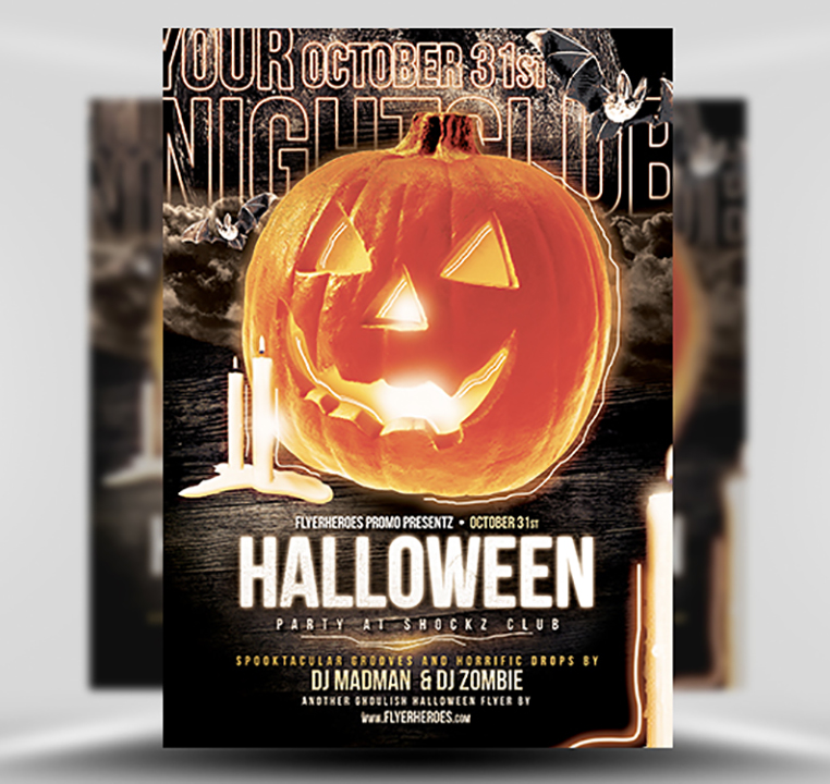 halloween party flyer template 10 15 - stormy nights