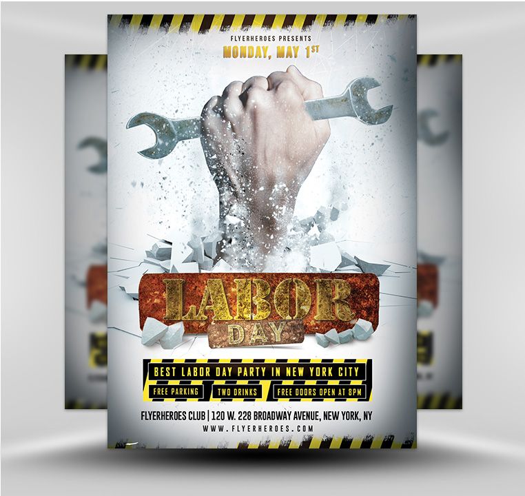 under construction labor day club party flyer