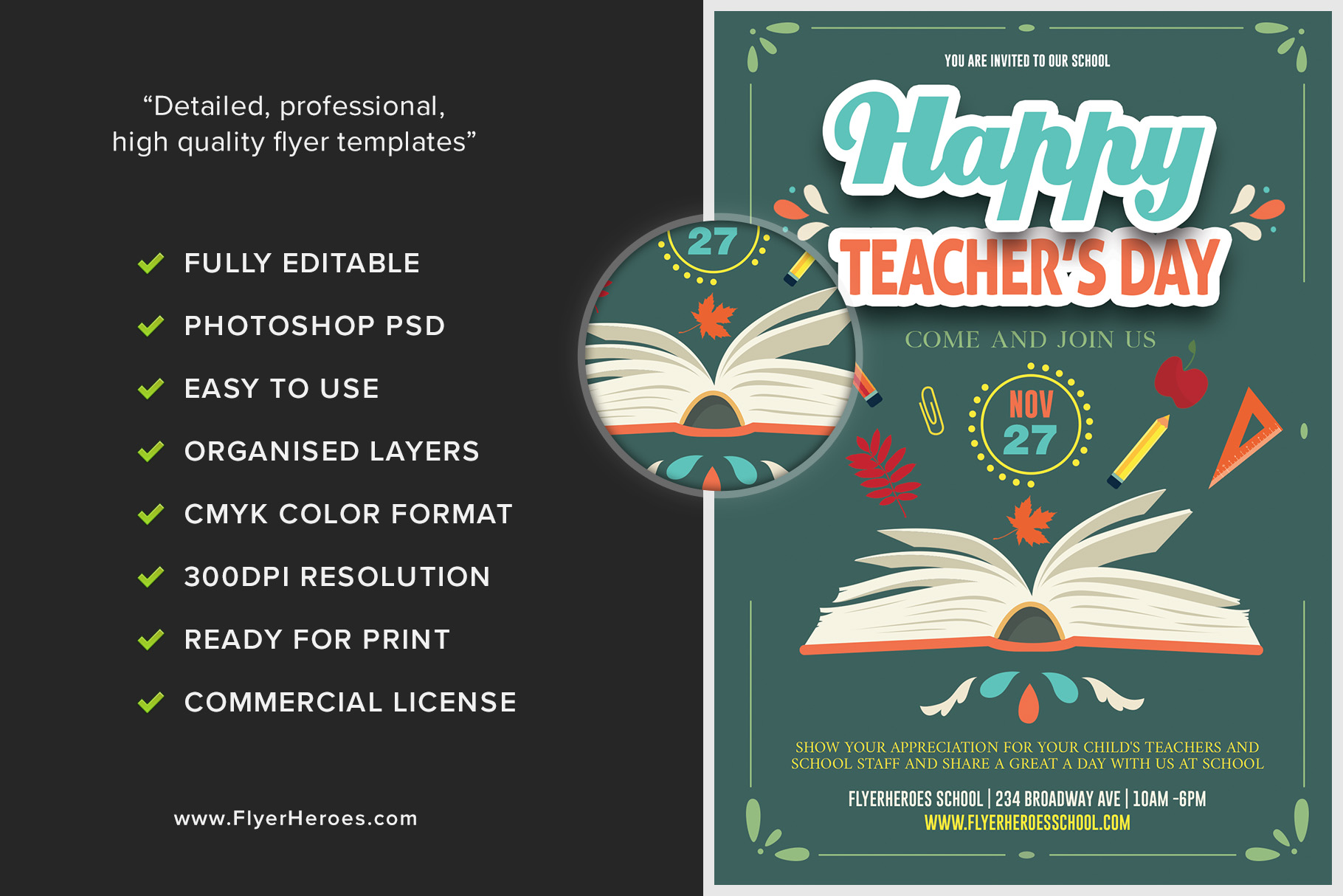 Teacher's Day Flyer Template – FlyerHeroes